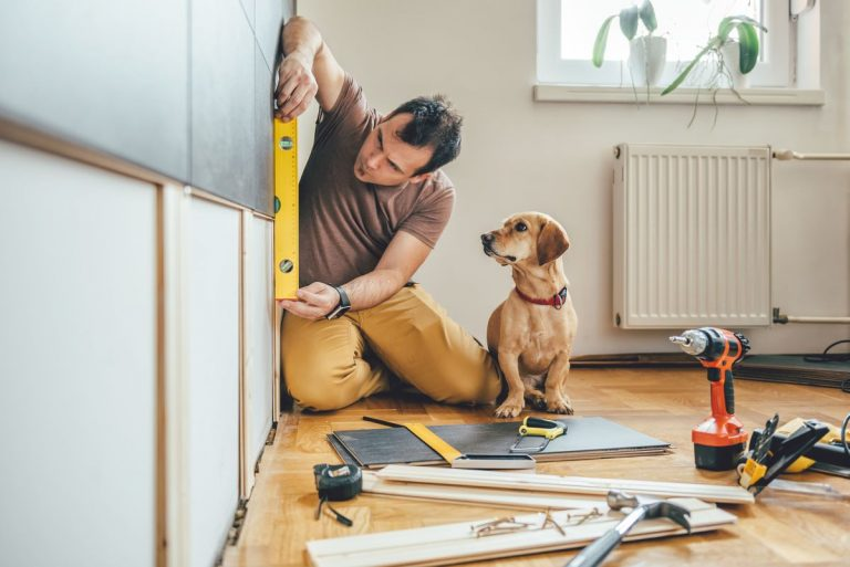 man doing home renovations with a dog